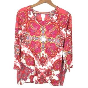 Chicos Floral 3/4 Sleeve Blouse 2